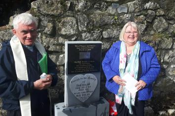 Headstone of famous Lusmagh man returns home